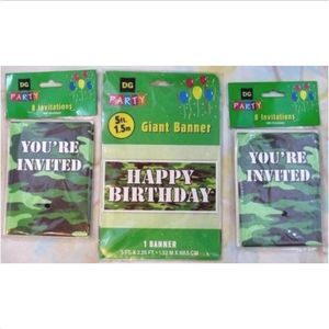 Green Camouflage Party Invitations Decoration Lot